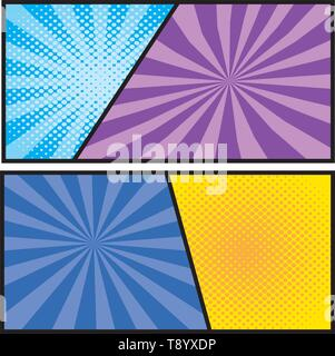 rays with dots background pop art comic cartoon vector illustration - Stock Image