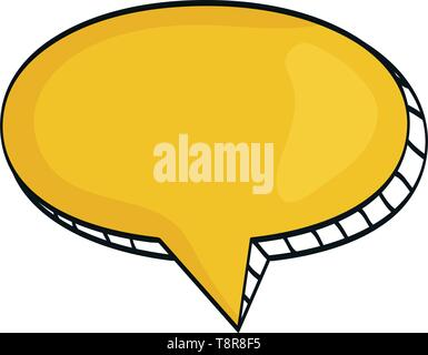 speech bubble message with relief drawing vector illustration design - Stock Image