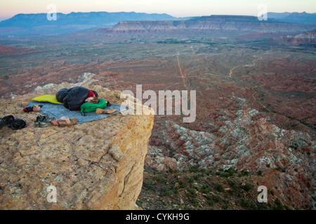 Camping on Gooseberry Mesa over Virgin, Utah.  The view overlooks Zion National Park, Utah. - Stock Image