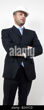 welldressed engineer on isolated background - Stock Image