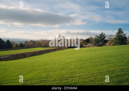 Landscape with Emley Moor mast in the distance as seen from the Yorkshire Sculpture Park. - Stock Image