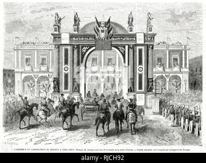 Emperor Maximilian and Empress Charlotte of Mexico visit Vera Cruz in a procession leading under the arc de triomphe in the parade square. The procession is lined by soldiers. - Stock Image