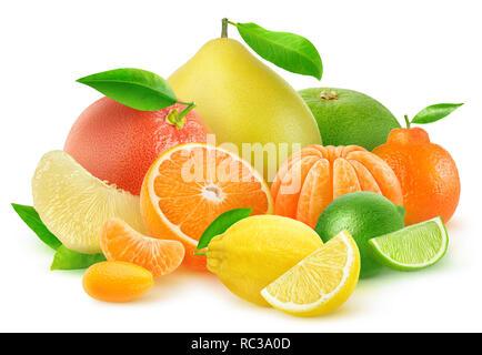 Isolated citrus fruits. Orange, grapefruit, lemon, tangerine, kumquat, lime and pomelo in a multicolored pile isolated on white background with clippi - Stock Image