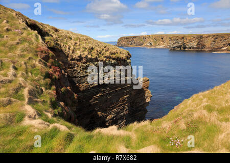 Secluded cove on rocky coastline from coast path on seacliffs. Burwick, South Ronaldsay, Orkney Islands, Scotland, UK, Great Britain - Stock Image