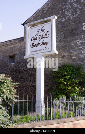 The Old Hall Bookshop sign, Brackley. - Stock Image
