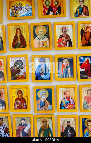 Religious icon fridge magnets featuring saints, Larnaca, Cyprus October 2018 - Stock Image