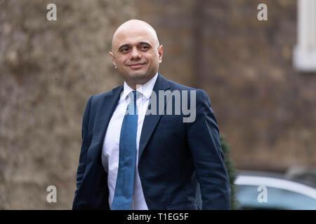 London, UK. 26th March 2019, Sajid Javid MP, PC, Home Secretary arrives at a Cabinet meeting at 10 Downing Street, London, UK. Credit: Ian Davidson/Alamy Live News - Stock Image