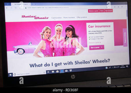 Sheila's Wheels insurance company advert on laptop computer - screenshot of website - Stock Image