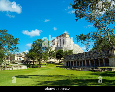 The Magicians House and Ball Court at Uxmal - Stock Image