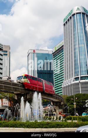 MRT (Mass Rapid Transit) Monorail, Kuala Lumpur, Malaysia. - Stock Image