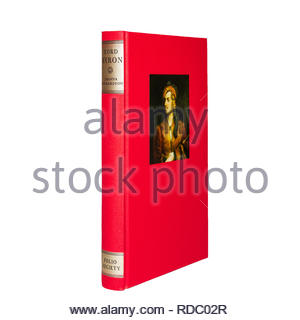 The Folio Society edition of 'Lord Byron' by Joanna Richardson.  Shown standing showing spine and front cover. - Stock Image