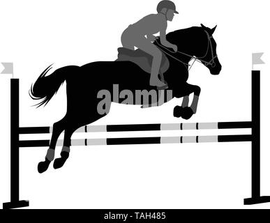 jumping show. horse with jockey jumping a hurdle silhouette - vector - Stock Image
