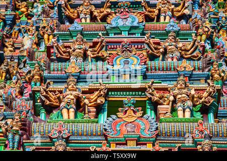 Meenakshi Amman Temple decor, a historic hindu temple located in Madurai city in Tamil Nadu in India - Stock Image