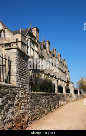 Merton College, Oxford University, Oxfordshire, UK. View from Dead Man's Walk and Merton Playing Field. - Stock Image