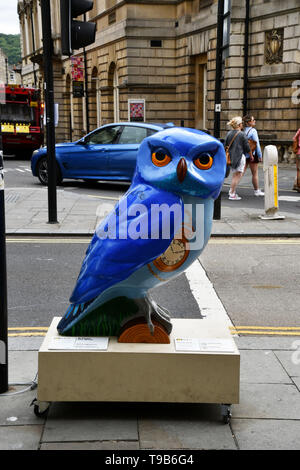 Articus the Wise Owl in Bath during 2018 event.All of the Owls were sponsored and auctioned at the end of the event with  profits going to local chari - Stock Image