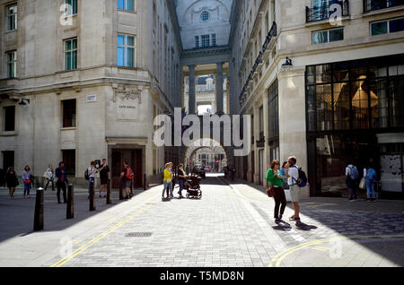 London, England, UK. Rear of the Cafe Royal, in Glasshouse Street, looking through arch towards Regent Street - Stock Image