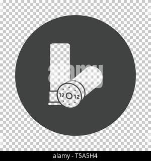 Ammo from hunting gun icon. Subtract stencil design on tranparency grid. Vector illustration. - Stock Image