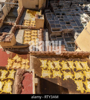Animal skins drying in the sun on rooftop at Chouara Tannery, Fes, Morocco - Stock Image