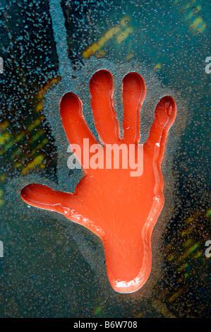 red hand sculpture stop berlin germany deutschland detail travel tourism art - Stock Image