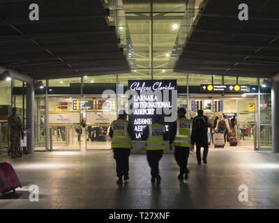 Entering the departure hall at Larnaka International Airport in Cyprus late at night, end of the holiday - Stock Image