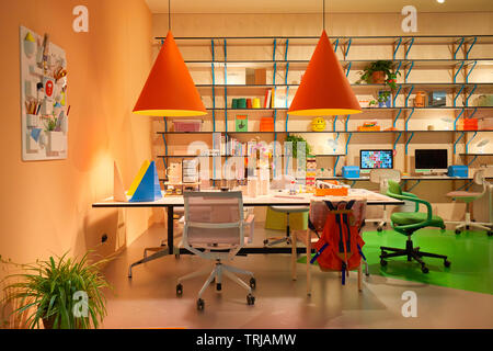 MILAN, ITALY - APRIL 11, 2019: Milan Design Week, Vitra stand installation and exhibition during Salone del Mobile in Milan, Italy. - Stock Image