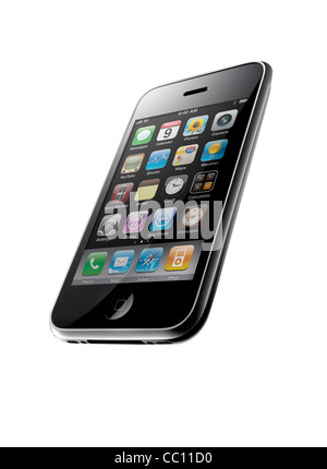 An iPhone 3GS shot at an interesting angle, on a white background - Stock Image