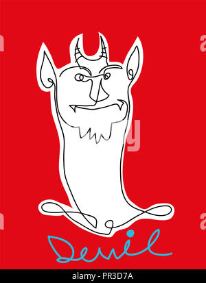 Abstract Devil.  Black and white simple line drawing of devil. - Stock Image