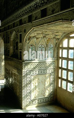 Window Amber Fort, Jaipur, Rajasthan, India - Stock Image