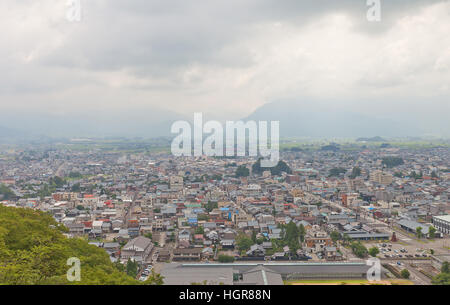 East view of Ohno city from the main keep of  Echizen Ohno castle. Ohno city of Fukui Prefecture has 400-years history - Stock Image