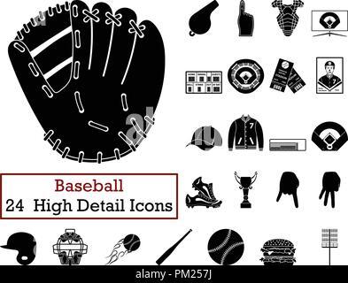 Set of 24  Baseball Icons. Monochrome color design. Vector illustration. - Stock Image