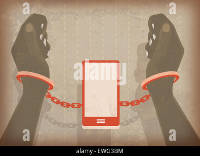 Illustration image of woman hands locked in handcuffs with mobile phone - Stock Image