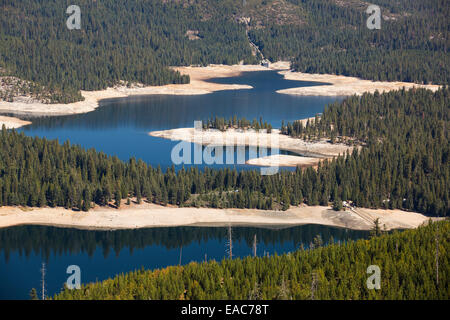 The ice house lake in drought conditions in the El Dorado National Forest, California, USA. - Stock Image