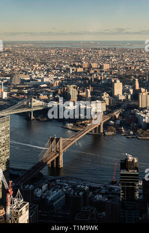 Scenic cityscape view, New York City and bridges, New York, USA - Stock Image