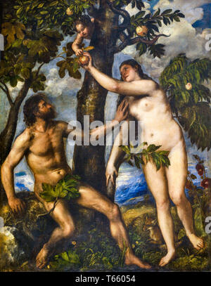 Titian, The Fall of Man, Adam and Eve, painting, c. 1550 - Stock Image