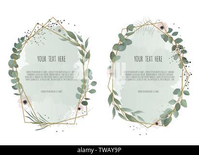 Vector set floral frame. Greeting, postcard wedding invite template. Elegant frame with foliage - Stock Image