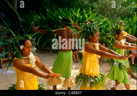 French Polynesia, Society Islands, Leeward Islands, Tahaa. With roots in a traditional Polynesian dance known as - Stock Image