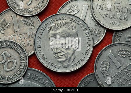 Coins of Germany. German social democratic politician Kurt Schumacher depicted in the German two Deutsche Mark coin - Stock Image