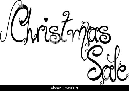 Christmas Sale holiday season text sign illustration on white Background. - Stock Image