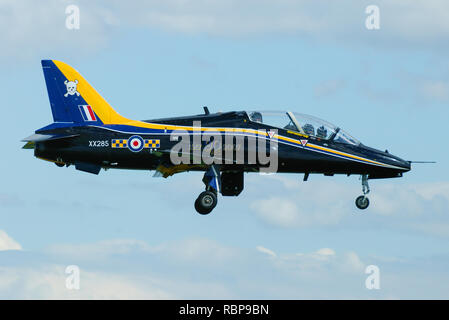 Royal Air Force RAF British Aerospace BAe Hawk T1 jet plane trainer in special paint scheme. 90 years of 100 Squadron - Stock Image