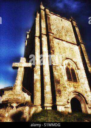 Parish church in Cornish village - Stock Image