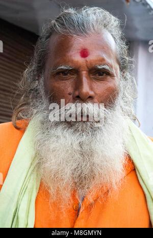Hindu ascetics or sadhus in Haridwar. Uttarakhand, northern India - Stock Image