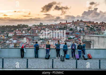 Viewpoint near Dom Luis I  bridge, group of tourists with trolleys, Porto, Portugal Porto, Portugal - Stock Image