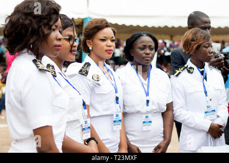 Abidjan, Ivory Coast - August 3, 2017: shoulder pad ceremony to students leaving the Maritime Academy. standing female sailor team wearing hospitality - Stock Image