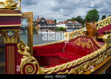 The Royal Barge Gloriana moored at Henley Royal Regatta, Henley-on-Thames, Oxfordshire - Stock Image