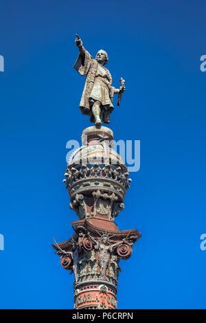 Spain, Barcelona City, Cristobal Colombus Monument - Stock Image