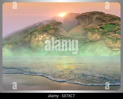 Misty beach on alien world - Stock Image