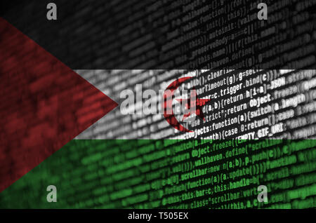 Western Sahara flag  is depicted on the screen with the program code. The concept of modern technology and site development. - Stock Image