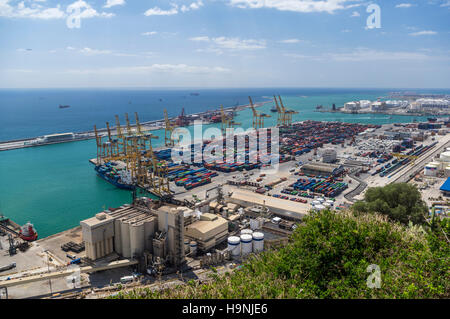 View of the container terminal of the port of Barcelona, Catalonia, Spain, from above. - Stock Image