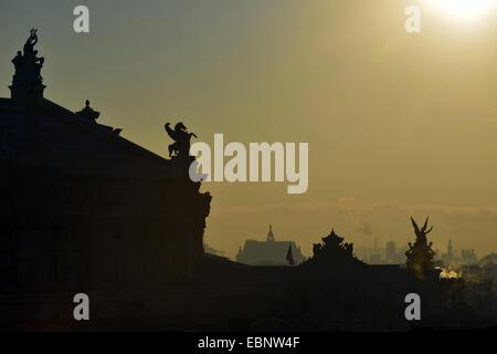 silhouette of Opera Garnier in the morning, France, Paris - Stock Image