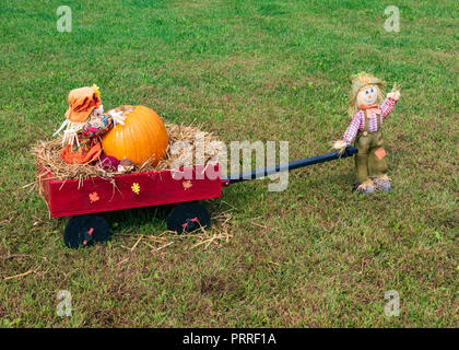 ERWIN, TN, USA-10/3/18: I-26 rest stop: Stuffed dolls pulling and riding in red wagon, with pumpkin. - Stock Image
